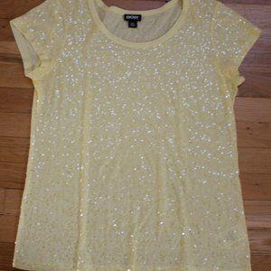DKNY Yellow Sequin Cotton Short Sleeve Tee…